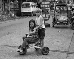 Do not enter (Beegee49) Tags: street people children bicycle playing blackandwhite monochrome sony bw a6000 bacolod city philippines asia happyplanet asiafavorites