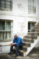 The Thinker (paulgarf53) Tags: thinker reading kindle savannah georgia topaz topazstudio2 steps cityscape streetphotography nikon d700