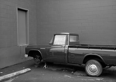 Portland (austin granger) Tags: portland oregon toyotastout pickup door geometry wheel shop repair sidewalk vintage 1967 film gw690ii ortho