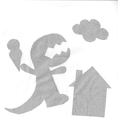 Shadow Puppets (jolynne_martinez) Tags: kansascity mo unitedstatesofamerica 2019th14 shadow shadows puppets shadowpuppets backlit backlighting scanography dinosaur icecreamcone cloud house monochrome bw