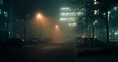 Nikon in the fog (mkk707) Tags: film 35mmfilm analog nikonf5 wwwmeinfilmlabde vintagefilmcamera fog lights night afnikkor50mm118d