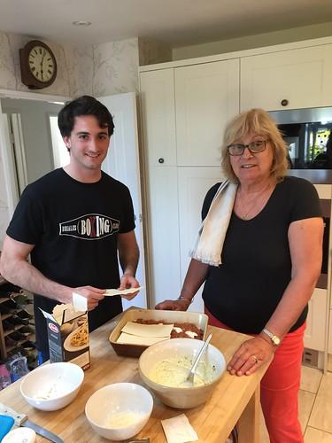 Luis making lasagne