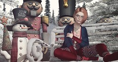 Strange Friends (Elise~Mersereau) Tags: deaddollz ntd serenitystyle red girl portrait snow winter sl secondlife tram