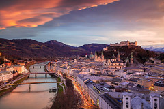 Salzburg. (Rudi1976) Tags: salzburg austria cityscape architecture cathedral church sky skyline mountainrange salzachriver riverside street tower city urbanscene town historicalbuilding 2019 europeanalps evening twilight europe buildingexterior oldtown scenics history landmark traveldestination tourism unesco outdoors downtown travel landscape urban view historic reflection vibrant winter bright sunset day