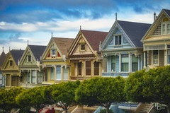 Painted Ladies in Profile (RobertCross1 (off and on)) Tags: a7rii alamosquare alpha bayarea ca california e55210mmf4563oss emount ilce7rm2 paintedladies sanfrancisco sony victorian architecture bluesky city cityscape clouds fullframe house landscape mirrorless park urban