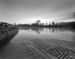 Isleworth River (MKHardyPhotography) Tags: blackandwhite monochrome mkhardy street large format 4x5 ilford delta 100 film photo home developed filmisnotdead schneider 58mm bw self superangulon xl iso100 negative london isleworth super angulon