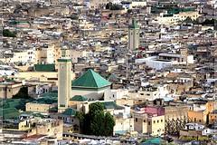 Vue sur la Mosquée Al-Quaraouiyine depuis le panorama  des Panorama sur la médina de Fès  depuis  Tombe des Merenides (philippedaniele) Tags: maroc fès feselbali médina mosquées