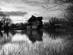 Waterclose Meadows Houghton Mill (davepickettphotographer) Tags: uk eastanglia cambridgeshire landscape landscapes huntingdonshire meadows eastern england blackandwhitephotography godmanchester midlands huntingdon nationaltrust property 18thcentury mill houghtonmill houghton water greatriverouse riverouse ouse ousevalleyway waterclose hemingfordgrey winter river scene