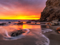El Matador Beach (Eric Zumstein) Tags: elmatador malibu california unitedstatesofamerica sunset beach clouds shore rocks ocean
