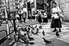 Pigeon Lady..... (Victor Borst) Tags: street streetphotography streetlife real realpeople asian asia asians faces face candid city cityscape citylife fuji fujifilm xpro2 xpor blackandwhite bw mono monotone monochrome tokyo pigeon pigeons travelling trip travel town japan japanese