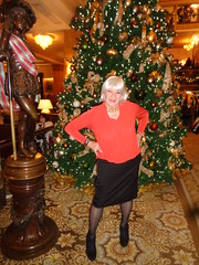 Whew! It Took Me Forever To Put All The Ornaments On That Tree :) (Laurette Victoria) Tags: xmas tree hotel milwaukee lobby christmastree pfisterhotel woman laurette skirt booties blouse silver