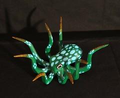 Green Octopus Oaxaca Mexico Wood Carving (Teyacapan) Tags: folkart mexican oaxacan animals octopus crafts woodcarvings