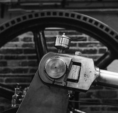 Engine (Richie Rue) Tags: engine machine wheel industry industrial heritage museum bradford foma fomapan400 coldinal rodinal mediumformat square 6x6 mamiyac220 tlr blackandwhite monochrome bnw bw film analogue contemplativephotography mindfulphotography machinery