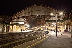 Temple Meads by night (archidave) Tags: railway station architecture victorian engineering bristol temple meads train shed trainshed curve arc night