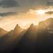 Evening sun on Valais mountains