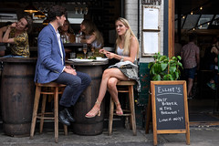 Elliot's (Silver Machine) Tags: london boroughmarket streetphotography street streetportrait candid candideyecontact couple lunch blonde winebar alfrescodining people fujifilm fujifilmxt10 fujinonxf35mmf2rwr