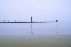 025241a  Something To Do On A Saturday Morning (David G. Hoffman) Tags: lake lakeshore lakemichigan lighthouse reflections catwalk channel