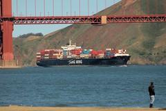 Entering the Bay (Bob_Wall) Tags: bobwall btwgf ggb goldengate sanfrancisco ship container cargo bridge