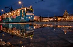 NightCrawler (Fredrik Lindedal) Tags: tram train puddle puddlegram reflection reflections tree church christmas nikon nightlights nightfall night nightshot nightphoto evening gothenburg göteborg lindedal sweden sverige lights sky skyline water