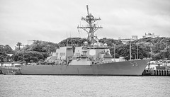 USS John Paul Jones (DDG-53) - Pearl Harbor - Honolulu, Oahu, Hawaii in B&W (J.L. Ramsaur Photography) Tags: pearlharbor heroes usnavy unitesstatesnavy usnavalbase honoluluhawaii honolulu honoluluhi usdestroyer americandestroyer fordisland uspacificfleet ussjohnpauljonesddg53 ussjohnpauljones ddg53 destroyer arleighburkeclassguidedmissiledestroyer guidedmissiledestroyer johnpauljones americanrevolutionarywarnavalcaptainjohnpauljones americanrevolutionarywarnavalcaptain jlrphotography nikond7200 nikon d7200 oahuhi honolulucounty hawaii 2019 engineerswithcameras islandsofhawaii photographyforgod hawaiianislands islandphotography screamofthephotographer ibeauty jlramsaurphotography oahu tennesseephotographer oahuhawaii bucketlisttrip thegatheringplace 3rdlargesthawaiianisland 20thlargestislandintheunitedstates therainbowstate jointbasepearlharborhickam bw blackwhite blackandwhite nik niksilverefexpro2 silverefex nikcollection monochrome colorless ship navyship arleighburkeclassdestroyer engineeringasart ofandbyengineers engineeringisart engineering