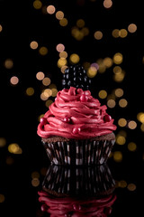 🎉 Festive ️ (annjane3) Tags: party food holiday black dessert decoration cupcake snack decorated birthday cake festive colorful seasonal sugar celebration sweets cheerful frosting pink flower rose sweet pearls delicious icing muffin frosted lights cool bokeh style pinkandblack glittering