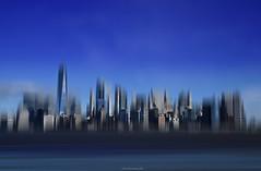 Blur skyline on blue (ricardocarmonafdez) Tags: newyork nyc manhattan buildings skyscrapers edificios rascacielos blur soft movement processing edicion effect imaginacion imagination cielo sky blue azul nikon d850 ciudad city cityscape skyline
