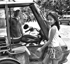 Going home (Beegee49) Tags: street people girl father tricycle filipina blackandwhite monochrome sony city philippines asia bacolod happyplanet asiafavorites