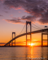 Newport Bridge Sunrise (michaelheiner) Tags: newport ri rhode island rhodeisland bridge claibornepell sunrise sky clouds ocean sea photo photograph picture image