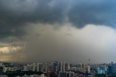 Singapore looking west (jeremyhughes) Tags: singapore lightning storm thunderstorm view city cityscape clouds sky cglightning weather tropical rain raining rainfall precipitation electricalstorm duxton thepinnacle thepinnacleduxton skypark tanjongpagar nikon d750 nikkor 2870mmf3545 bolt lightningbolt nikonfxshowcase