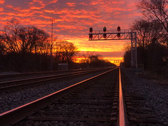 December Skies (3) (tquist24) Tags: indiana outdoor cellphone clouds geotagged iphone iphonex morning outside railroad railroadtracks silhouette sky sunrise tracks tree trees