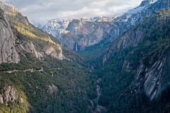 Merced River Canyon (San Francisco Gal) Tags: yosemitenationalpark yosemite mercedrivercanyon mercedriver bridalveilfalls highway120 snow mountain road cliff cloud