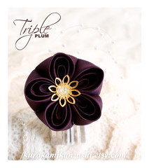 Triple Plum (Kurokami) Tags: lindsay ontario canada kimono japan japanese asia asian woman women girl girls lady ladies traditional kitsuke tsumami kanzashi folded flower flowers floral hair ornament ornaments pin pins silver flutter triple plum ume blossom bead cap swarovski crystal faux pearl