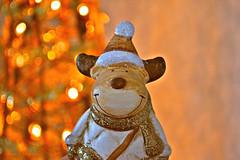 Sparkly... (Maria Godfrida) Tags: cosasdecasa christmasfigure closeup light smile figurine orange bokeh sparkly glitter happy festive