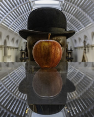 Son of Man (Sam Codrington) Tags: apple reflection london museum architecture buildings magritte va victoriaandalbertmuseum bowlerhat vanda bowler sonofman england unitedkingdom portrait selfportrait
