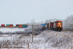 CN 442 @ Grainger, AB (JustDaveGray) Tags: canadian national railway canada alberta cn cnr rail railroad mixed freight ge cowl