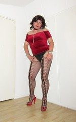 velvet red top and patterned fishnets (Barb78ara) Tags: velvet velvettop redvelvettop fishnets fishnetspantyhose fishnetsstockings patternedpantyhose patternedfishnets nylon nylons sandals redsandals highheels highheelsandals stilettoheels stilettohighheels