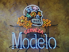 Neon Beer (kenjet) Tags: dayofthedead skull colorful beer cerveza modelo bar restaurant sign lettering typography neon neonsign
