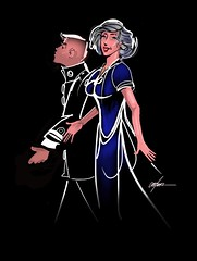 TWO FOR THE SHOW (golfbag3) Tags: ipadpro illustration drawing styalized uniform woman man couple