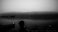 Trying To Forget (Luther Roseman Dease, II) Tags: place theme water sky light silhouette contrejour humanelement atmosphere mood form depth framing outdoors bw fineartphotography fog treatise