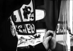 Retro-pompier / Mirror firefighter (vedebe) Tags: city ville street urban bw monochrome portraits fire noiretblanc nb travail retroviseur rue reflexion reflets feu urbain pompiers netb work
