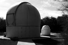 Observatory and pod (cldeleon) Tags: blackandwhite design outside 35mm