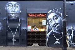 Food and Street Art (erichudson78) Tags: uk england london streetphotography streetart canonef24105mmf4lisusm canoneos6d brixton atlanticroad street rue peinturemurale scènederue graffiti sign