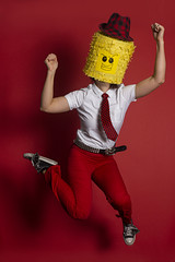 Weird And Wonderful (evaxebra) Tags: wh wah hat red background weird pinata lego head tie pants belt converse jump fedora