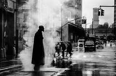 Pleased To Meet You Hope You Guessed My Name (Creekside Photog) Tags: sympathyforthedevil blackandwhite street rain man steam people grit grain