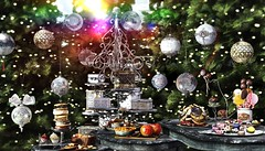 Decadent desserts (Alexa Maravilla/Spunknbrains) Tags: 8f8 thearcade theepiphany secondlife desserts indoors treats ornaments christmas tree traditional classic virtual virtualdecor digitalphotography blog blogger