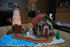 2014 lighthouse Gingerbread! (ineedathis, Everyday I get up, it's a great day!) Tags: gingerbread house 2014 nikond80 royalicing gumpaste baking modeling figures snowman sea boat kitchen roofingtiles miniatures waves wreath red white blue green brown trees path sugarwork rocks boulders sand snow chimney
