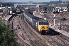 MISJUDGEMENT (Malvern Firebrand) Tags: 50038 formidable exeter tiverton junction july 1984 50 class50 50xxx englishelectric loco locomotive engine diesel devon mainline hoover train coaches passenger semaphores signals d438 438 vehicles transport outdoors trains railways br britishrail 1980s