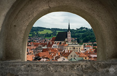 Peeking (dlerps) Tags: amount cz ceskykrumlov czech czechrepublic daniellerps eu europeeuropa lerps photography sony sonyalpha sonyalpha99ii sonyalphaa99mark2 sonyalphaa99ii httplerpsphotography lerpsphotography building cathedral church skyline churchtower carlzeiss architecture planar5014za planart1450 window hole wall lookout catholism religion catholic tower carlzeissplanar50mmf14ssm