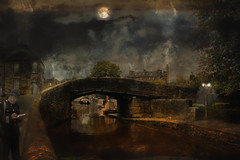 Nightwatch (brian_stoddart) Tags: composite colours texture canals water bridge buildings polceman cat tree lamp nightime atmospheric