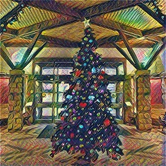 Lobby Xmas Tree (scilit) Tags: tree christmastree christmasdecorations pillars beams wood patterns doors lights star holidays pioneer blackcreek ontario textures